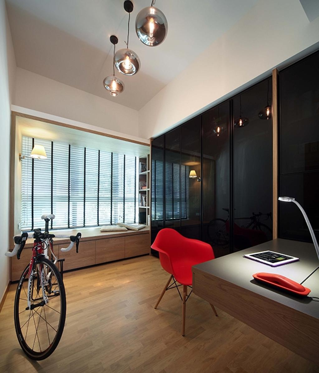 Modern, Condo, Study, The Gale, Interior Designer, The Scientist, Scandinavian, Pendant Lamp, Handing Lamp, Round Pendant Lamp, Eames Chair, Dsw Chair, Red Dsw Chair, Wood Floor, Wooden Flooring, Wardrobe, Bay Window, Blinds, Venetian Blinds, Bicycle, Chair, Furniture, Couch