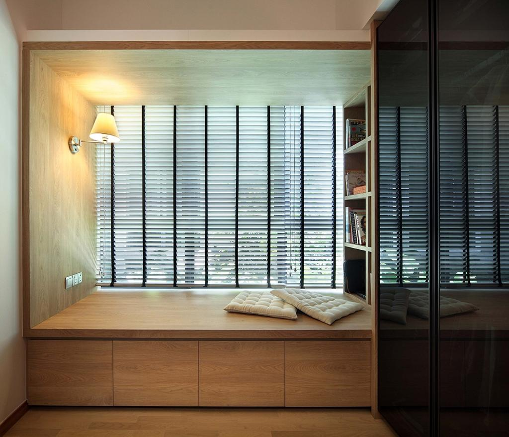 Modern, Condo, Bedroom, The Gale, Interior Designer, The Scientist, Scandinavian, Bay Window, Blinds, Window Blinds, Platform With Storage