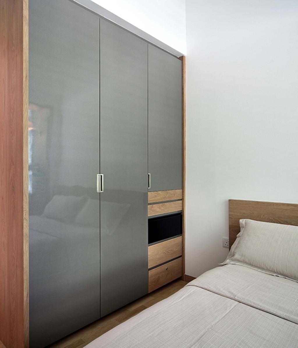 Modern, Condo, Bedroom, The Gale, Interior Designer, The Scientist, Scandinavian, Wardrobe, Grey Wardrobe, Grey And Wood, Door, Sliding Door, Cabinet, Furniture