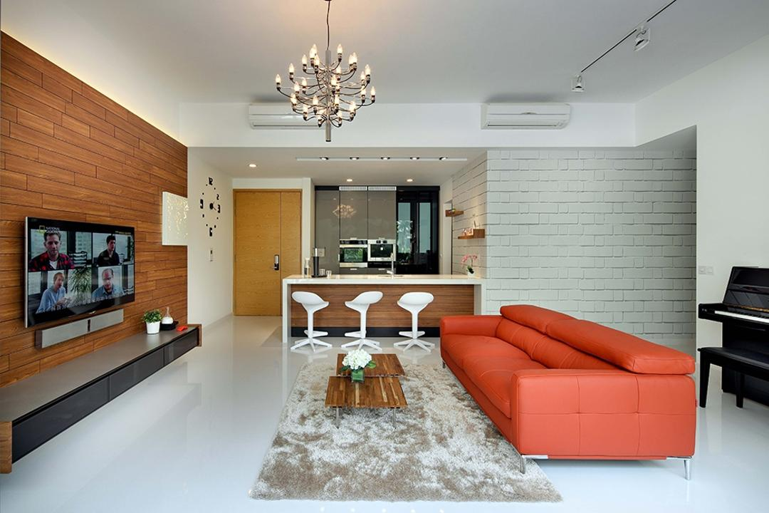 The Gale, The Scientist, Modern, Scandinavian, Living Room, Condo, Sofa, Couch, Orange Sofa, Chandelier, Carpet, Fuzzy Carpet, Coffee Table, Small Coffee Table, Brick Walls, Grey Brick Walls, Aircon, Tv Console, Floating Console, Indoors, Interior Design