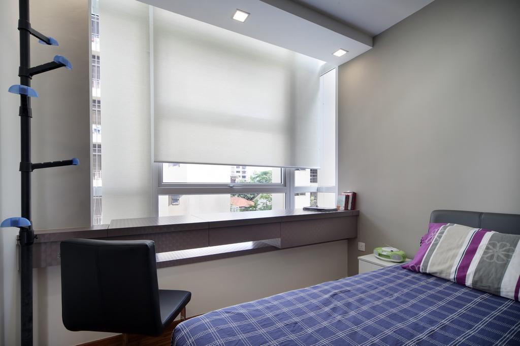 Eclectic, Condo, Bedroom, City Regency, Interior Designer, Chapter One Interior Design, Coat Rack, Blinds, Chair, Gray, Furniture, Indoors, Interior Design, Room