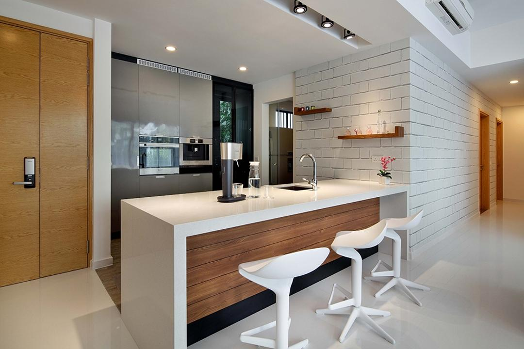 The Gale, The Scientist, Modern, Scandinavian, Dining Room, Condo, White Stools, Bar Stools, High Stools, Kitchen Ledge, Kitchen Countertop, White Countertop, Door, Wall Shelf, Kitchen Cabinetry, Oven, Dining Table, Furniture, Table, Indoors, Interior Design, Kitchen, Room