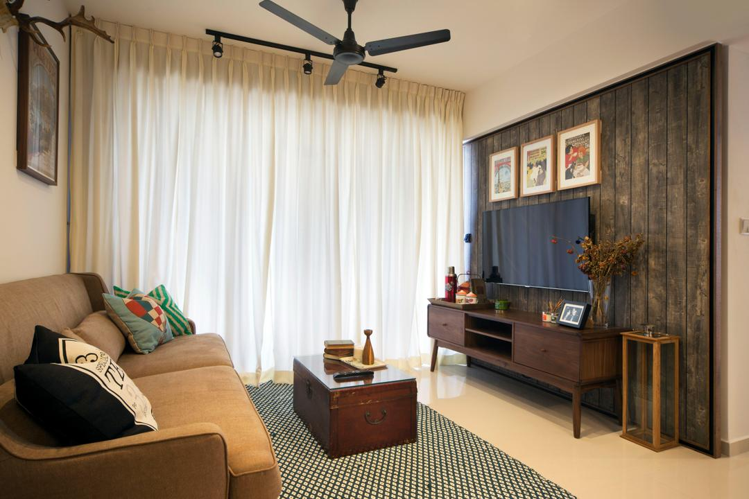 Yishun (Block 348B), The Scientist, Retro, Eclectic, Living Room, HDB, Rustic, Brown, Brown Furniture, Feature Wall, Tv Cabinet, Coffee Table, Carpet, Curtains, Ceiling Fan, Sofa, Fabric Sofa, Couch, Cushions, Old School, Flora, Jar, Plant, Potted Plant, Pottery, Vase, Furniture, Cabinet, Indoors, Room