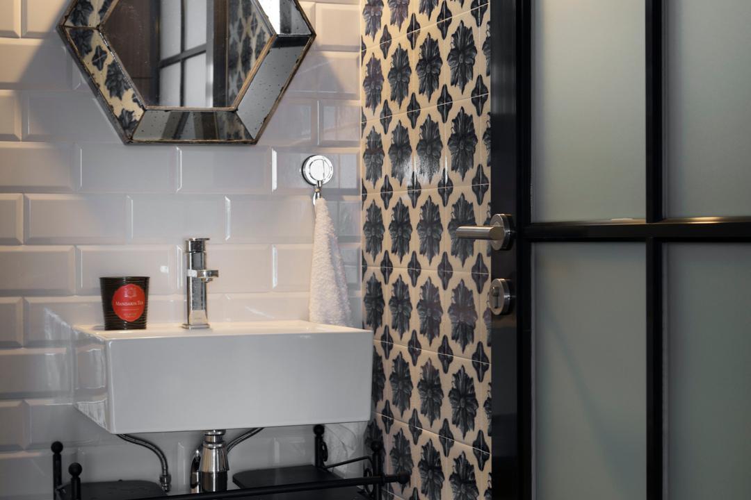 Yishun (Block 348B), The Scientist, Retro, Eclectic, Bathroom, HDB, Subway Tiles, White Tiles, Bathroom Tiles, Bathroom Vanity, Mirror, Patterned Tiles, Pendant Lamp, Black Trims, Indoors, Interior Design, Room