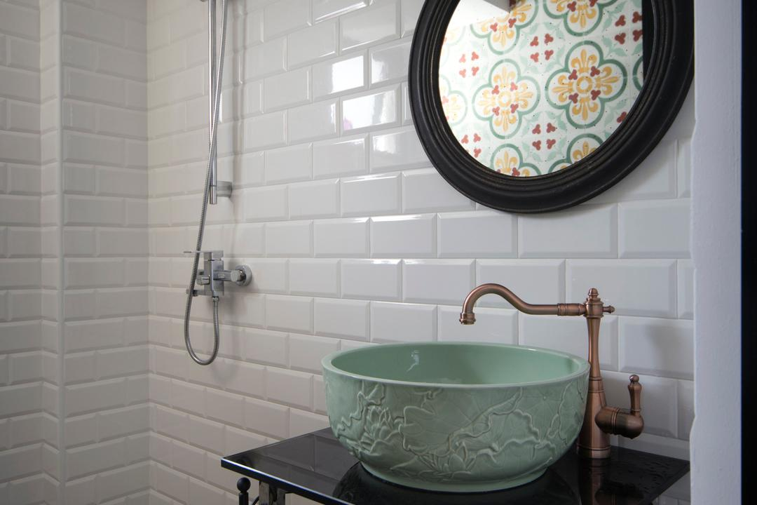 Yishun (Block 348B), The Scientist, Retro, Eclectic, Bathroom, HDB, Oriental Style, Bowl Sink, Vessel Sink, Old School, Bathroom Vanity, Mirror, Round Mirror, Subway Tiles, Shower Head