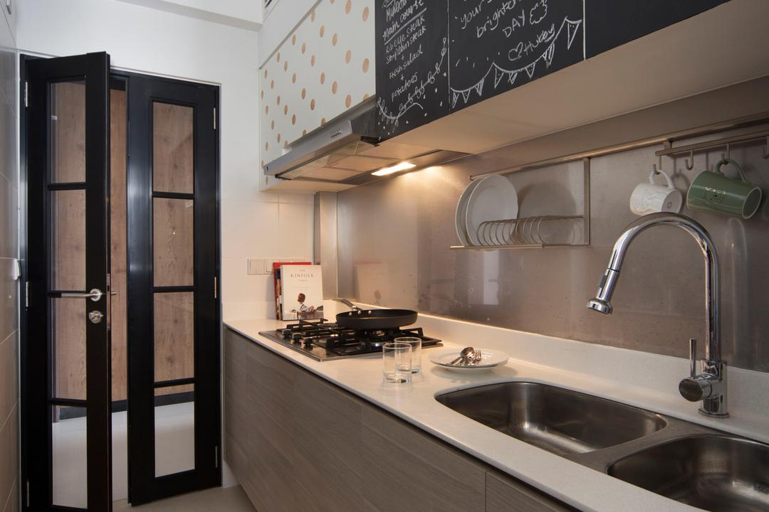 Yishun (Block 348B), The Scientist, Retro, Eclectic, Kitchen, HDB, Kitchen Cabinet, Cabinetry, White Countertop, Chalkboard, Kitchen Door, Glass Door, Under Cabinet Lighting, Kitchen Sink, Kitchen Rack, Indoors, Interior Design