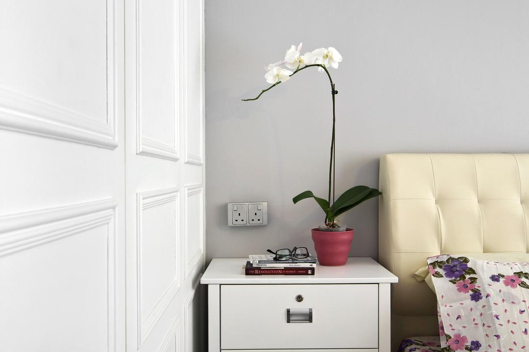 Woodlands (Block 847), The Scientist, Eclectic, Contemporary, Bedroom, HDB, Wainscoting, White Partition, Bedside Table, Plants, Flowers, White Furniture, Headboard, Elegant, Girly, Flora, Jar, Plant, Potted Plant, Pottery, Vase, Art, Blossom, Flower, Flower Arrangement, Ikebana, Ornament