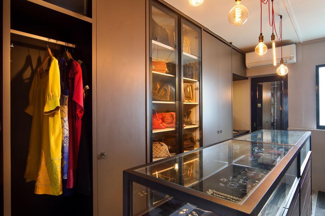 Woodlands (Block 847), The Scientist, Eclectic, Contemporary, Bedroom, HDB, Accessories, Wardrobe, Sliding Door, Clothes, Bag Storage, Warm Lighting, Dark Colours, Dark Wood, Dim Room, Banister, Handrail, Indoors, Interior Design