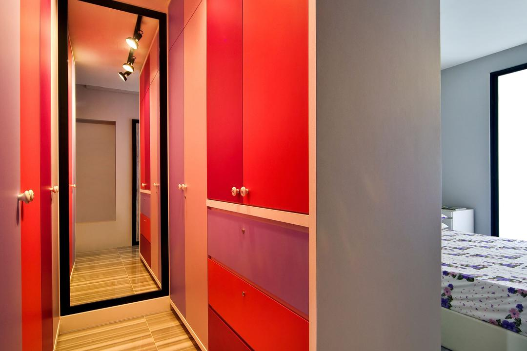 Woodlands (Block 847), The Scientist, Eclectic, Contemporary, Bedroom, HDB, Track Lights, Track Lighting, Mirror, Full Length Mirror, Standing Mirror, Red Cabinet, Wood Floor, Stripes, Corridor