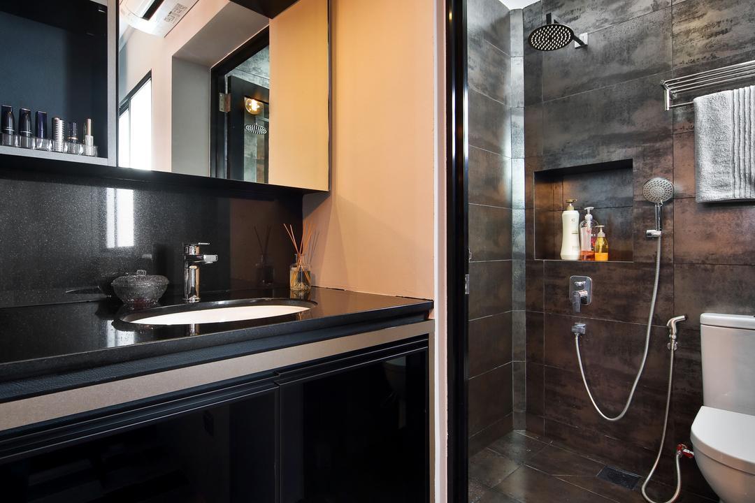 Woodlands (Block 847), The Scientist, Eclectic, Contemporary, Bathroom, HDB, Bathroom Vanity, Mirror, Bathroom Cabinet, Black Vanity, Shower Screen, Bathroom Tiles, Dark Coloured Tiles, Toilet Bowl, Water Closet, Black Bathroom Vanity