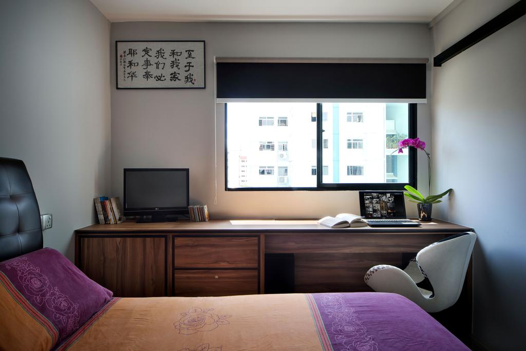 Eclectic, HDB, Study, Woodlands (Block 847), Interior Designer, The Scientist, Contemporary, , Colourful, Colours, Study Table, Chairs, Work Desk, Work Station, Laptop, Blinds, Black Roller Blinds, Indoors, Room, Chair, Furniture