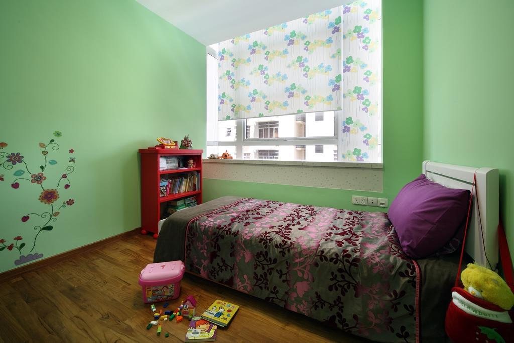 Eclectic, Condo, Bedroom, City Regency, Interior Designer, Chapter One Interior Design, Green, Wall Art, Wall Sticker, Floral, Kids, Kids Room, Parquet, Shelf, Shelves, Bookshelf, Blinds, Chair, Furniture, Indoors, Interior Design, Room