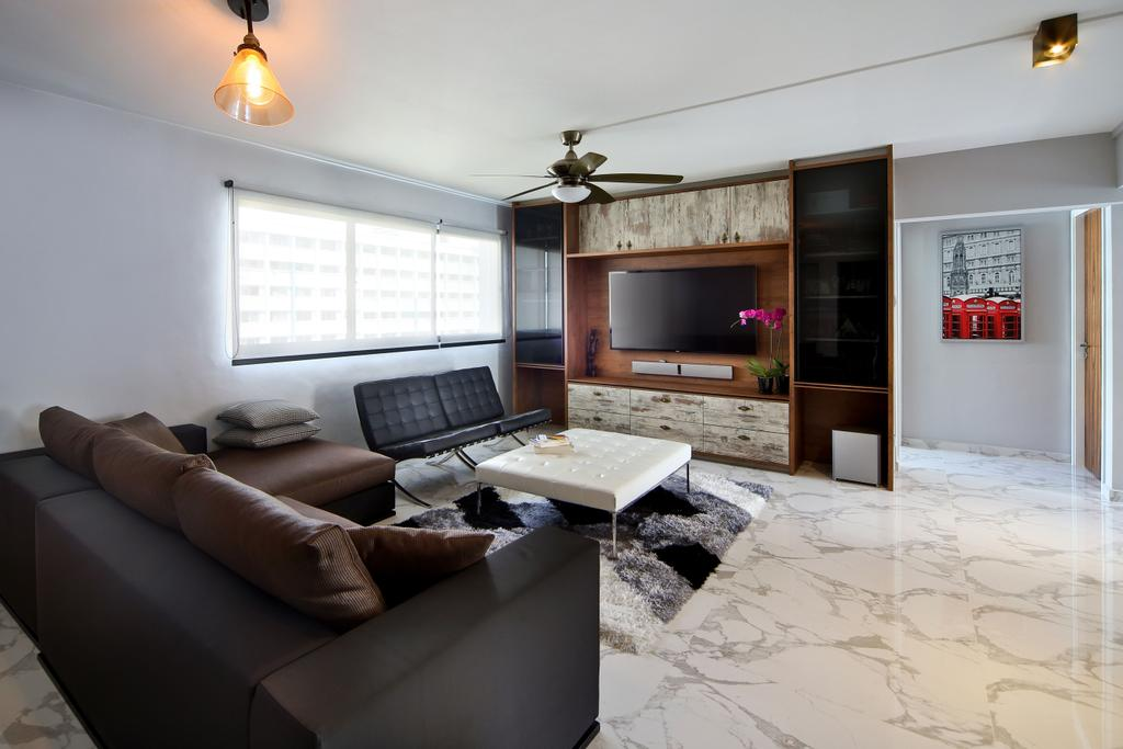 Eclectic, HDB, Living Room, Woodlands (Block 847), Interior Designer, The Scientist, Contemporary, Painting, Wall Decor, Blinds, Roller Blinds, Black Furniture, Marble Flooring, Dark Coloured Furniture, Couch, Furniture, Electronics, Entertainment Center, Indoors, Room