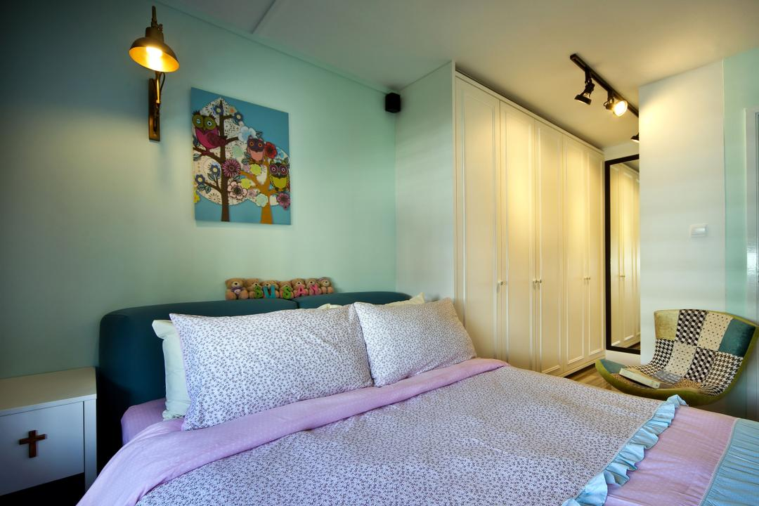 Woodlands (Block 847), The Scientist, Eclectic, Contemporary, Bedroom, HDB, Colours, Colourful, Bluish Green, Aqua Green, Painting, White Cabinet, Track Lighting, Art, Modern Art, Indoors, Interior Design, Room, Light Fixture, Lighting, Molding