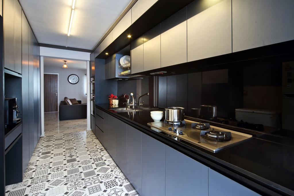 Eclectic, HDB, Kitchen, Woodlands (Block 847), Interior Designer, The Scientist, Contemporary, Patterned Tiles, Floor Tiles, Kitchen Tiles, Kitchen Cabinet, Cabinetry, Blue Cabinet, Dark Coloured Cabinet, Black Countertop, Stove, Track Lighting, Backsplash
