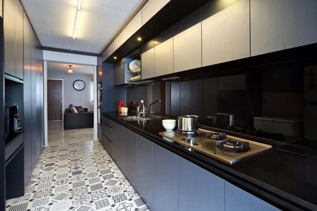Woodlands (Block 847), The Scientist, Eclectic, Contemporary, Kitchen, HDB, Patterned Tiles, Floor Tiles, Kitchen Tiles, Kitchen Cabinet, Cabinetry, Blue Cabinet, Dark Coloured Cabinet, Black Countertop, Stove, Track Lighting, Backsplash