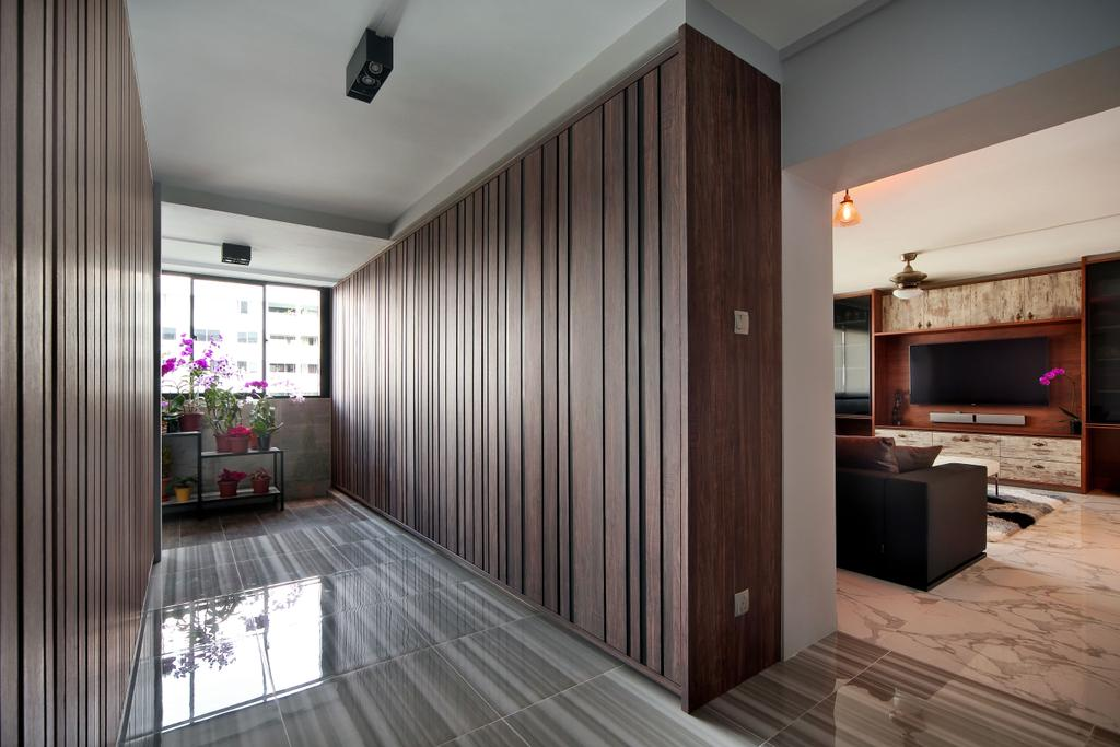 Eclectic, HDB, Living Room, Woodlands (Block 847), Interior Designer, The Scientist, Contemporary, , Wood Grain, Stripes, Striped Wood Grain, Cabinet, Cabinetry, Dark Wood, Floor Tiles, Potted Plant, Electronics, Entertainment Center