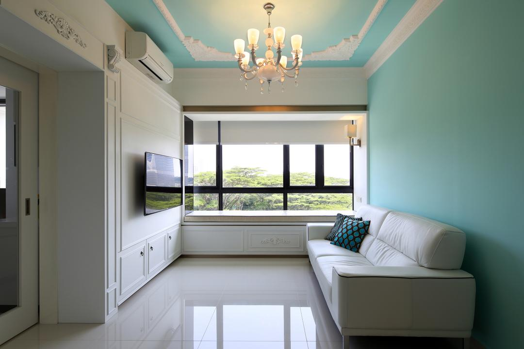 The Interlace, The Scientist, Vintage, Living Room, Condo, Blue Walls, Tiffany Blue Walls, Chandelier, Sofa, White Sofa, Couch, Floor Tiles, Wainscoting, Wall Mounted Tv, Aircon, , Blinds, Roller Blinds, Bay Window, Indoors, Interior Design