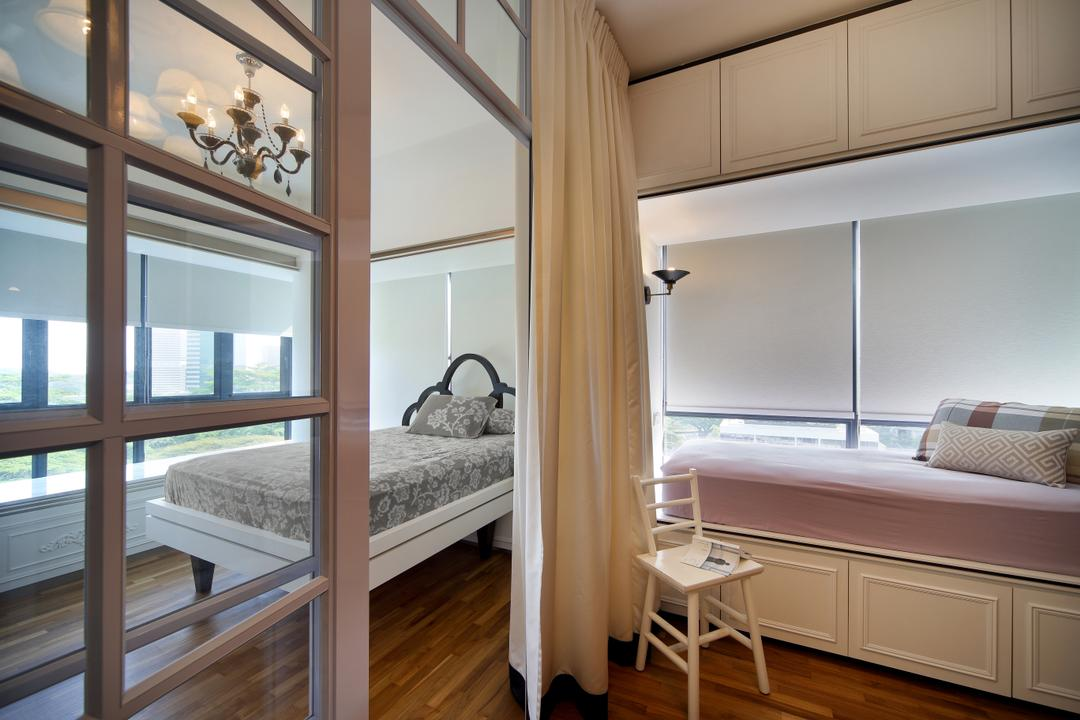 The Interlace, The Scientist, Vintage, Bedroom, Condo, Hacked Wall, Partition, White Trimmings, Curtains, White Furniture, Bedside Bed, Blinds, Roller Blinds, Wainscoting, Dining Table, Furniture, Table, Building, Hostel, Housing, Studio Couch