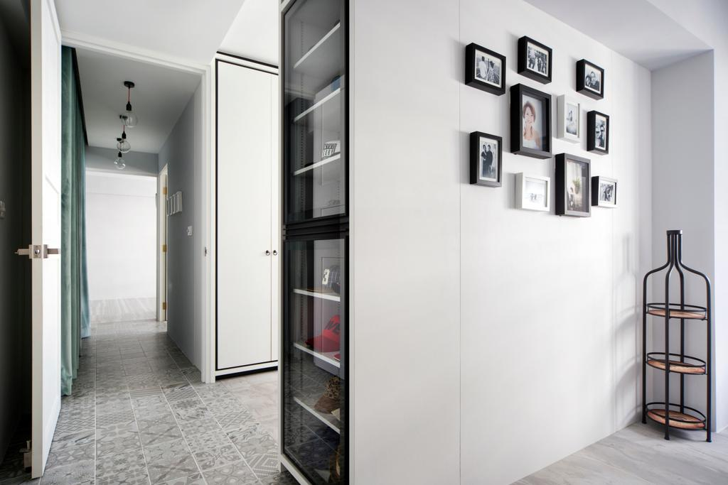 Minimalist, HDB, Bedroom, Punggol Way (Block 260C), Interior Designer, The Scientist, Modern, Wall Gallery, Storage, Storage Space, , White, All White, Monochrome, Clean Cut, Clean Colours, Black And White, Patterned Floor Tiles, White Cabinet, Molding, Corridor