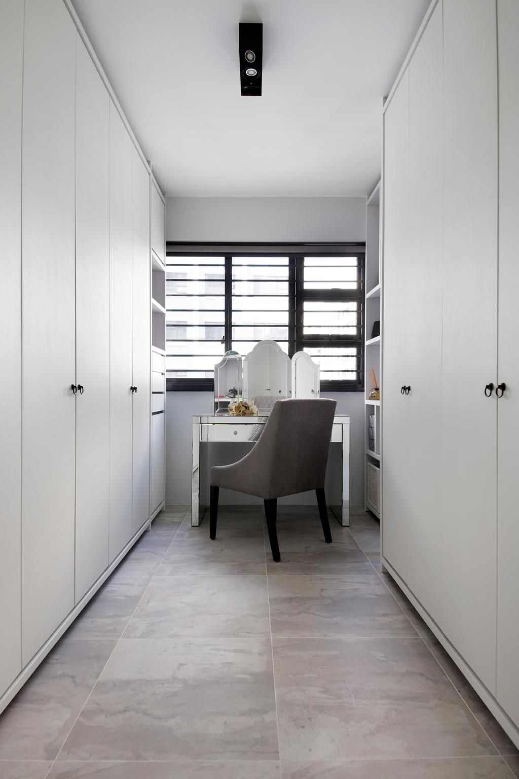 Minimalistic, HDB, Bedroom, Punggol Way (Block 260C), Interior Designer, The Scientist, Modern, Cabinet, White Cabinet, Wardrobe, Dressing Table, Vanity Table, Mirror, Chair, Grey Floor, Sink