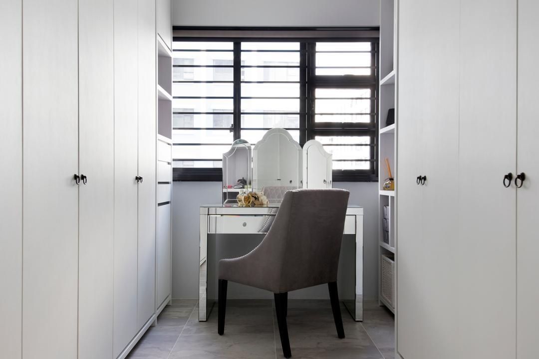 Punggol Way (Block 260C), The Scientist, Minimalistic, Modern, Bedroom, HDB, Cabinet, White Cabinet, Wardrobe, Dressing Table, Vanity Table, Mirror, Chair, Grey Floor, Sink