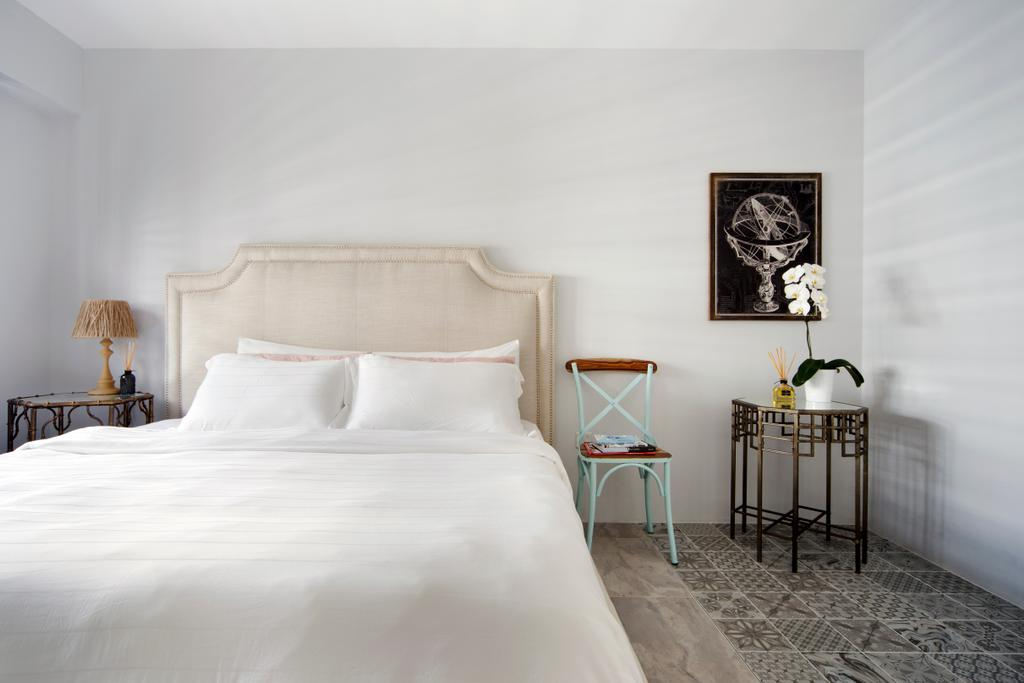 Minimalistic, HDB, Bedroom, Punggol Way (Block 260C), Interior Designer, The Scientist, Modern, , White, White Bed, All White, Elegant, Girly, Clean, Headboard, Patterned Floor Tiles, Chairs, Bedside Table, Painting, Wall Frame, Flowers, Home Decor, Indoors, Interior Design, Room, Lamp