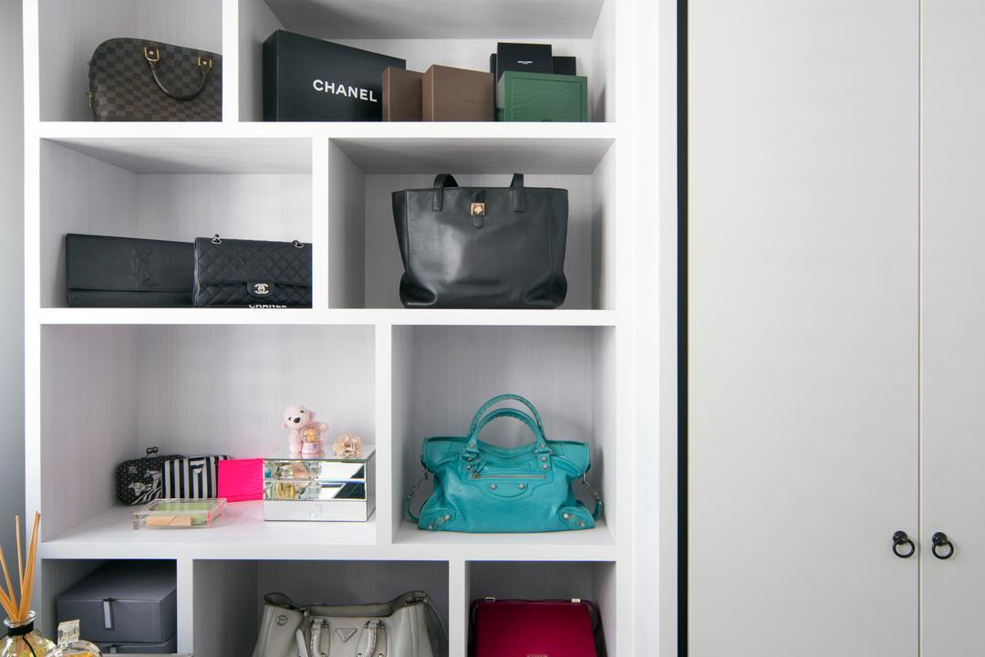 Punggol Way (Block 260C), The Scientist, Minimalistic, Modern, Bedroom, HDB, Wardrobe, Bags, Accessories, Handbag, Bag Storage, Display, Closet, Bag Shelf, Shelf, Bag, Tote Bag
