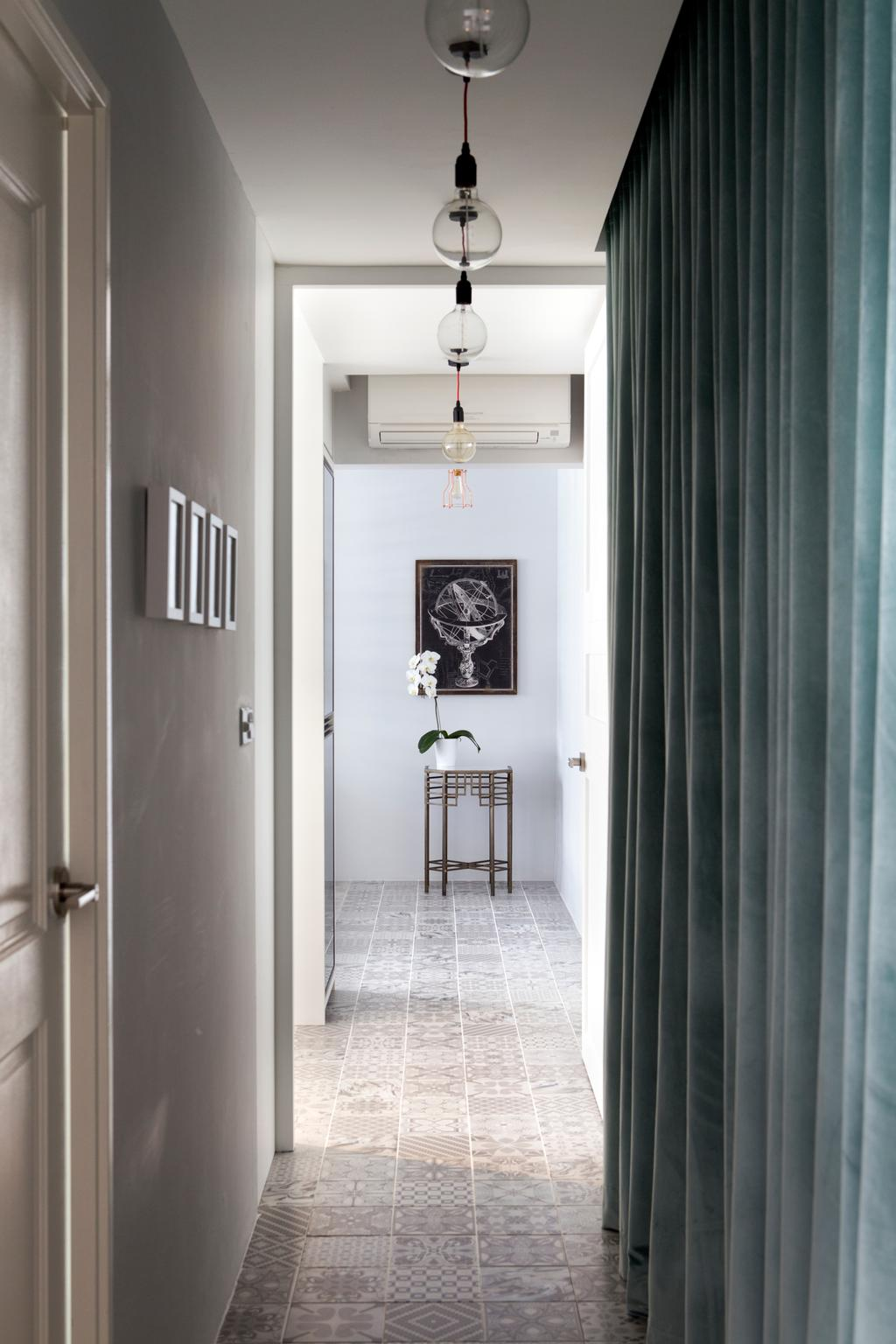 Minimalistic, HDB, Living Room, Punggol Way (Block 260C), Interior Designer, The Scientist, Modern, Walkway, Hallway, Curtains, Flowers, Aircon, Light Bulb, Exposed Bulb, Pendant Lamp, Light Bulb Pendant Lamp, Curtain, Home Decor