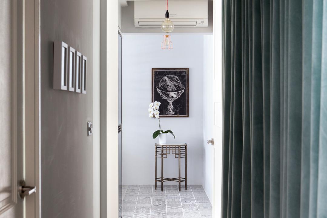 Punggol Way (Block 260C), The Scientist, Minimalistic, Modern, Living Room, HDB, Walkway, Hallway, Curtains, Flowers, Aircon, Light Bulb, Exposed Bulb, Pendant Lamp, Light Bulb Pendant Lamp, Curtain, Home Decor
