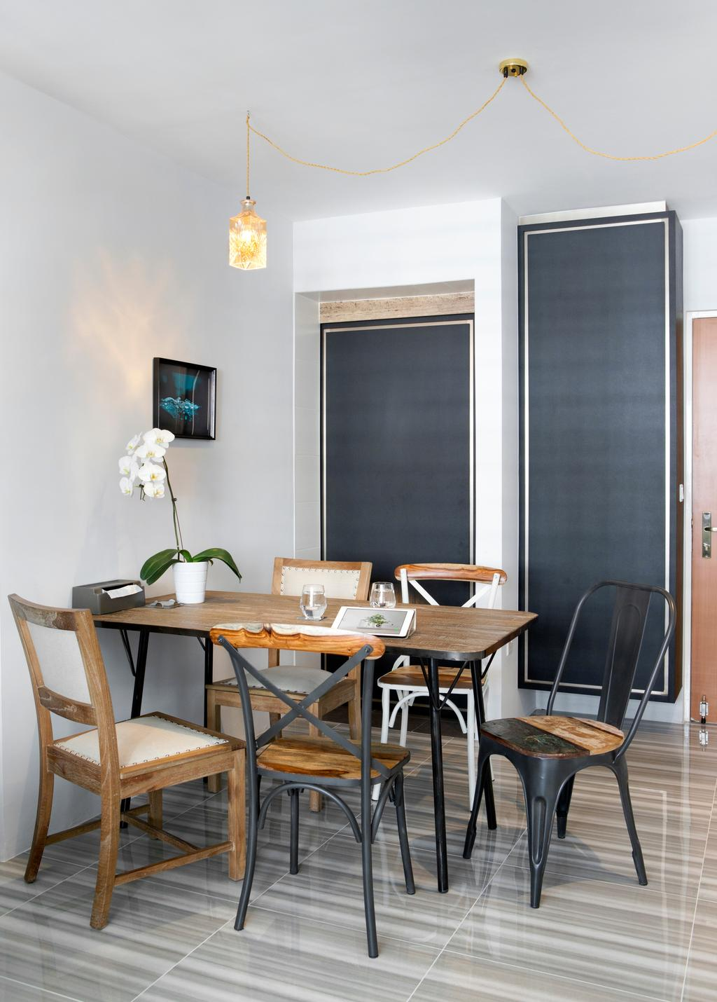 Minimalistic, HDB, Dining Room, Punggol Way (Block 260C), Interior Designer, The Scientist, Modern, Dining Table, , Chairs, Dining Chair, Wood, Wood Dining Table, Wood Table, Cabinet, Shoe Cabinet, Blackboard, Furniture, Table, Chair, Indoors, Interior Design, Room