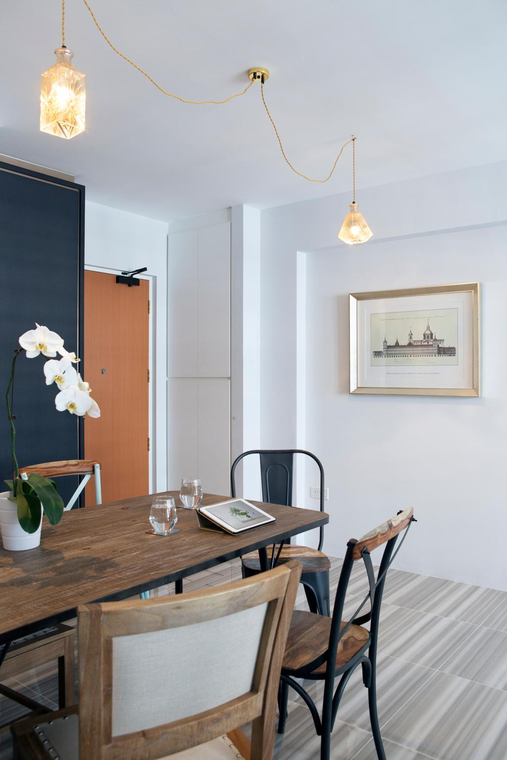 Minimalistic, HDB, Dining Room, Punggol Way (Block 260C), Interior Designer, The Scientist, Modern, Dining Table, Tolix, Chairs, Dining Chairs, Flowers, Vase, Wall Frame, Clean Cut, Door, Indoors, Interior Design, Room, Furniture, Table, Flora, Jar, Plant, Potted Plant, Pottery