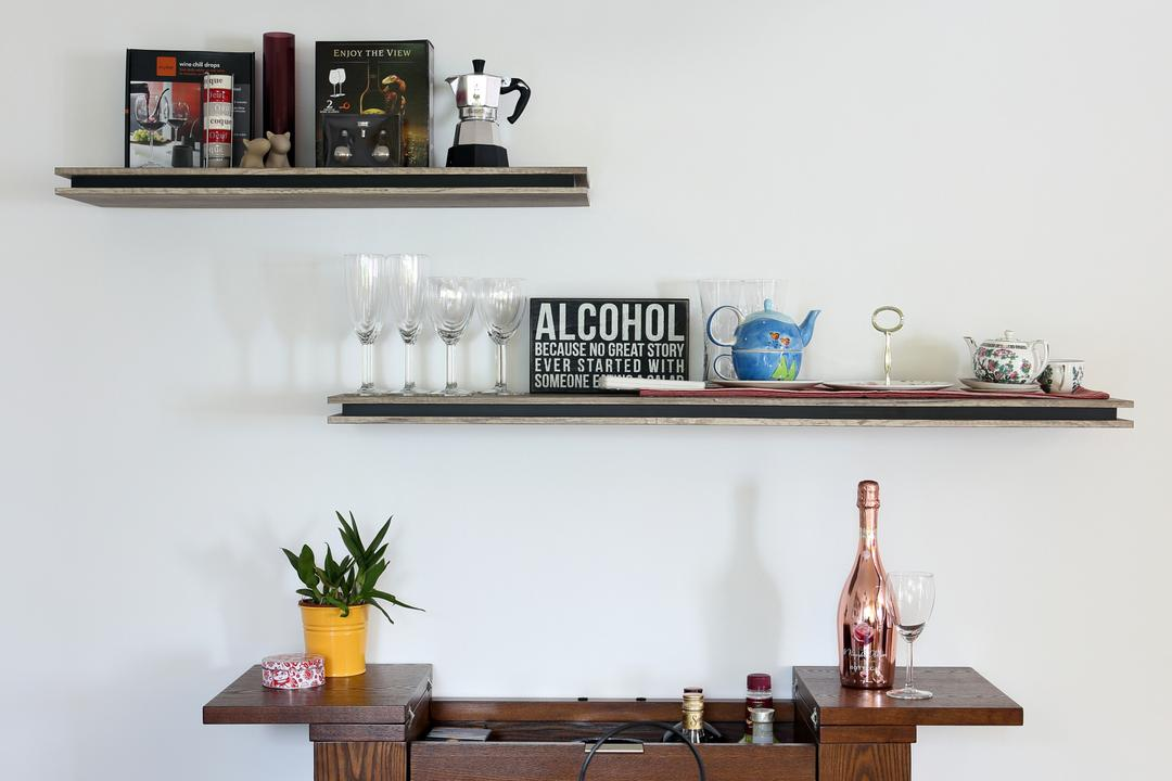 Marine Drive (Block 75), The Scientist, Eclectic, Dining Room, HDB, Wall Shelf, Shelves, Side Cabinet, Side Board, Dining Table, Wood, Pendant Lamp, Hanging Lamp, Home Decor, Shelf, Flora, Plant, Pot, Glass, Goblet, Jar, Potted Plant, Pottery, Vase
