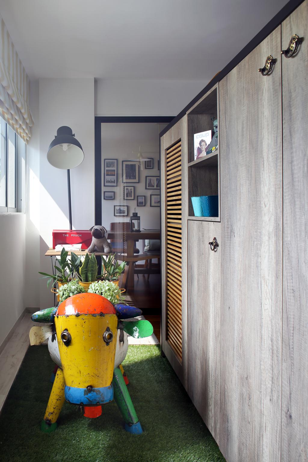 Eclectic, HDB, Marine Drive (Block 75), Interior Designer, The Scientist, Cabinet, Cabinetry, Dark Wood, Carpet, Artificial Grass Carpet, Green Carpet, Home Decor, Standing Lamp, Bright, Flora, Jar, Plant, Potted Plant, Pottery, Vase, Cactus