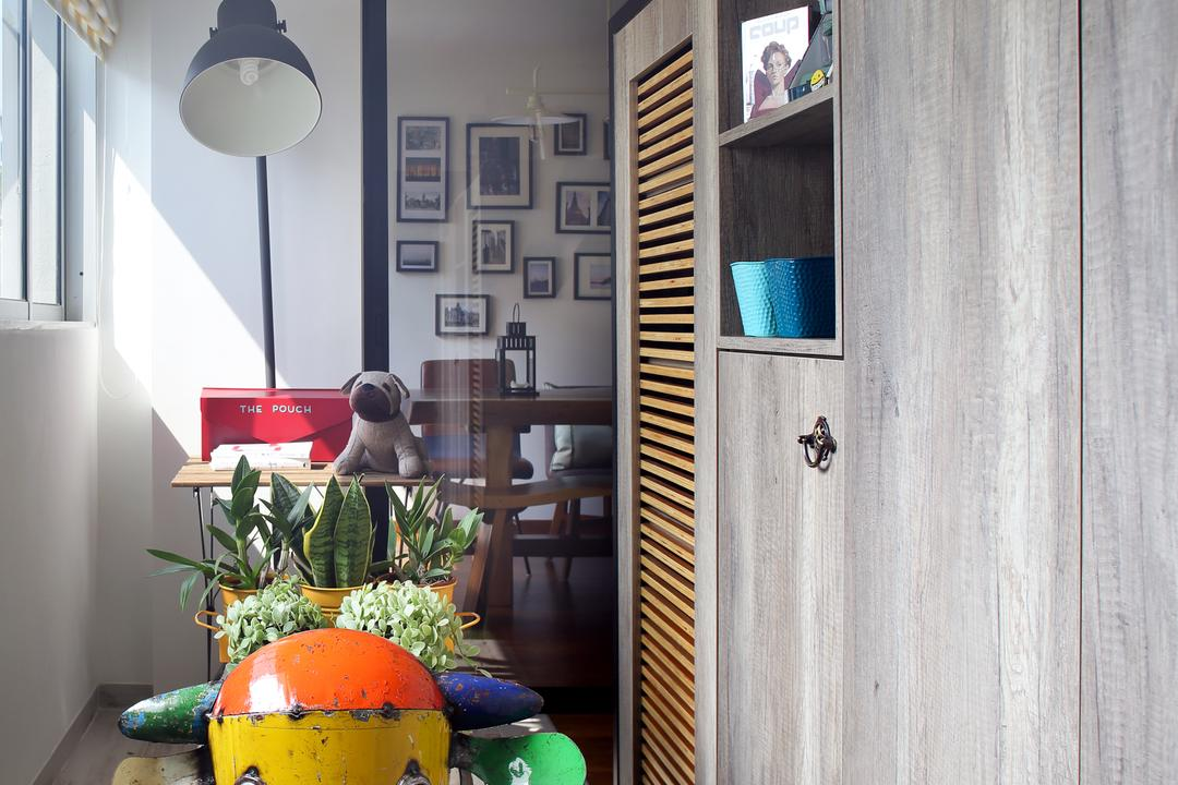 Marine Drive (Block 75), The Scientist, Eclectic, HDB, Cabinet, Cabinetry, Dark Wood, Carpet, Artificial Grass Carpet, Green Carpet, Home Decor, Standing Lamp, Bright, Flora, Jar, Plant, Potted Plant, Pottery, Vase, Cactus