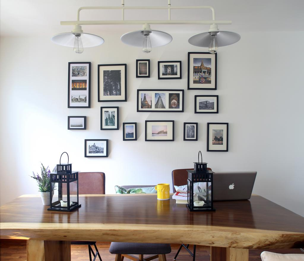 Eclectic, HDB, Dining Room, Marine Drive (Block 75), Interior Designer, The Scientist, Gallery Wall, , Photo Frames, Wall Frames, Wall Decor, Home Decor, Pendant Lamp, Hanging Lamp, Dining Table, Chairs, Ornaments, Suar Wood, Indoors, Interior Design, Room