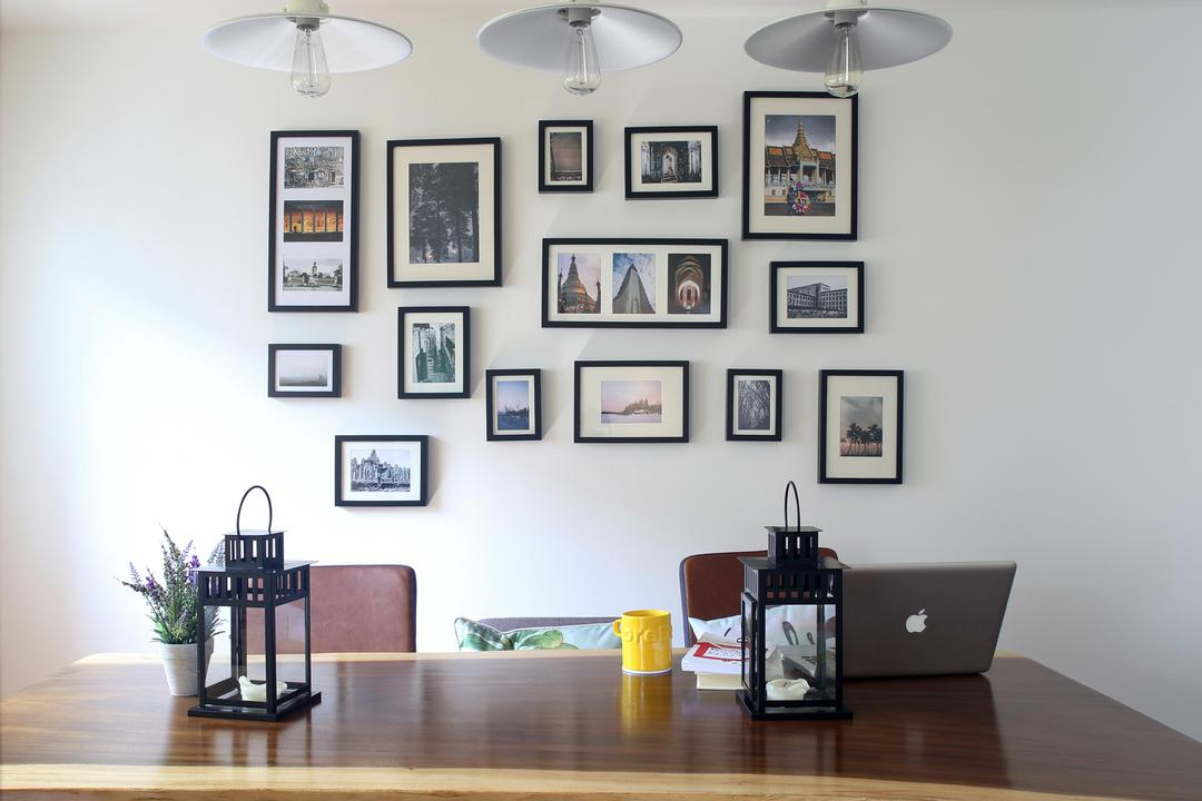 Marine Drive (Block 75), The Scientist, Eclectic, Dining Room, HDB, Gallery Wall, , Photo Frames, Wall Frames, Wall Decor, Home Decor, Pendant Lamp, Hanging Lamp, Dining Table, Chairs, Ornaments, Suar Wood, Indoors, Interior Design, Room