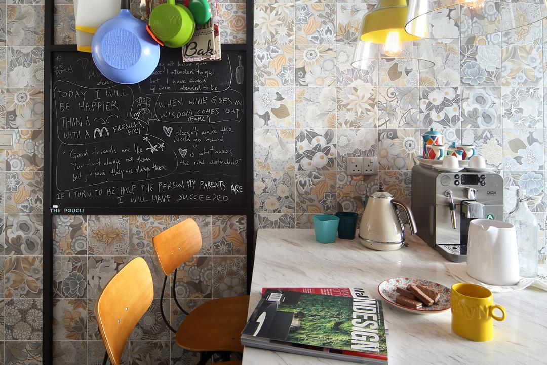 Marine Drive (Block 75), The Scientist, Eclectic, Kitchen, HDB, Marble Countertop, White Countertop, Patterns, Patterns Tiles, , Kitchen Rack, Chalkboard, Chairs, High Stools, Wall Tiles, Breakfast, Food, Meal