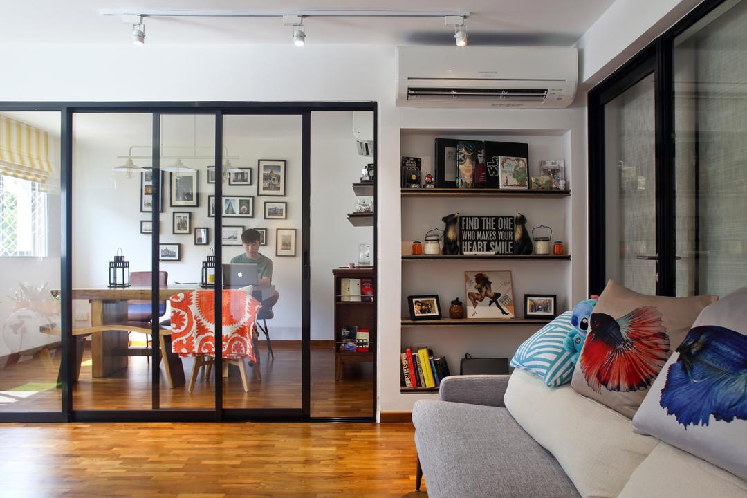 Marine Drive (Block 75), The Scientist, Eclectic, Living Room, HDB, Hacked Wall, Glass Door, Black Trimmings, Glass Door With Black Trims, Wall Shelf, Home Decor, Ornaments, White Track Lighting, Open Concept, Human, People, Person, Couch, Furniture, Flooring