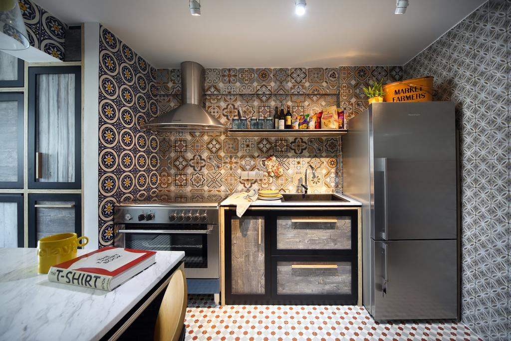 Eclectic, HDB, Kitchen, Marine Drive (Block 75), Interior Designer, The Scientist, Patterned Tiles, Patterns, Kitchen Tiles, Mosaic Tiles, Exhaust Hood, Kitchen Cabinet, Cabinetry, Refrigerator, Kitchen Sink, Sink, Oven, Kitchen Rack, Wall Shelf