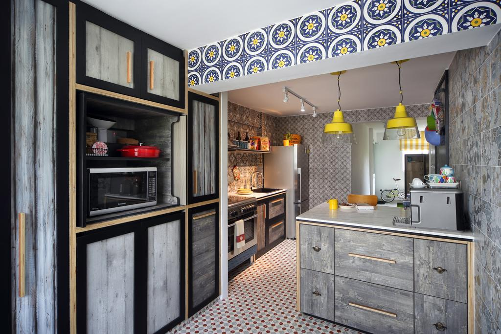 Eclectic, HDB, Kitchen, Marine Drive (Block 75), Interior Designer, The Scientist, Patterned Tiles, Patterns, Mosaic Tiles, Raw, Industrial, Grey, Grey Wall, Grey Furniture, Grey Cabinet, Cabinetry, Pendant Lamp, Yellow Lamp, Cement Screed, Appliance, Electrical Device, Microwave, Oven