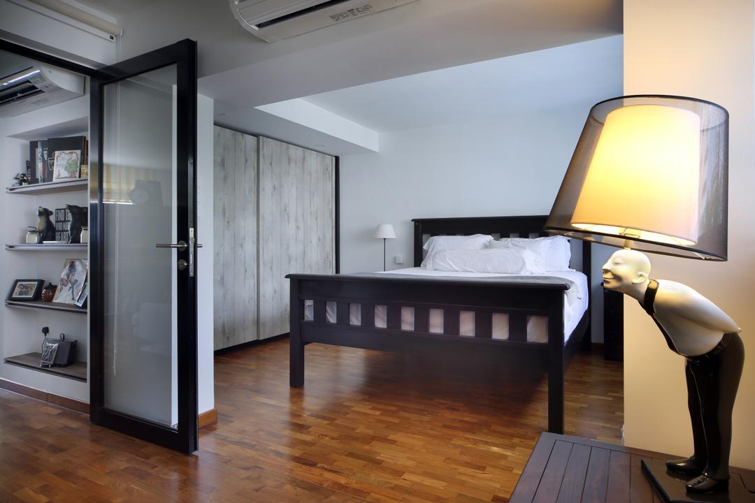 Marine Drive (Block 75), The Scientist, Eclectic, Bedroom, HDB, Table Lamp, Quirky, Funky, Quirky Lamp, Glass Door, Transparent Door, Bed Frame, Wood Floor, Wooden Flooring, Wardrobe, Grey Furniture, Cradle, Furniture, Building, Housing, Indoors, Loft