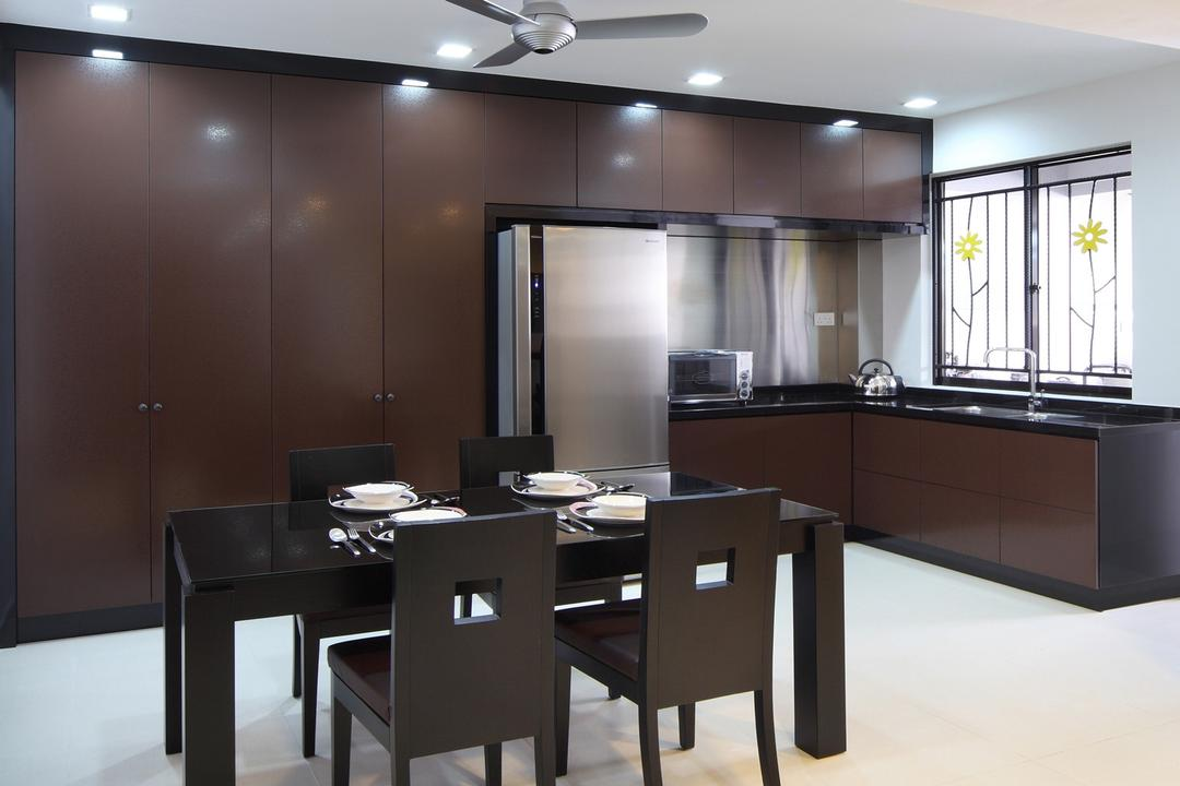 Jalan Ismail, Chapter One Interior Design, Modern, Dining Room, Landed, Dining Table, Chair, Wall Panels, Metallic, Kitchen Counter, Cabinet, Table, Grills, Flower, Brown, Furniture, Indoors, Interior Design, Room
