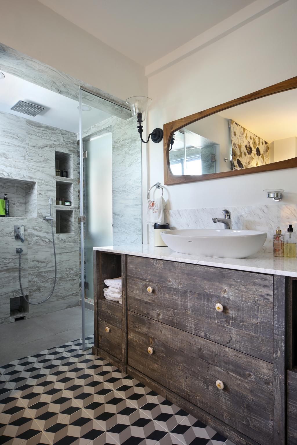 Eclectic, HDB, Bathroom, Marine Drive (Block 75), Interior Designer, The Scientist, White Bathroom, Bathroom Vanity, Bathroom Cabinet, Vessel Sink, Mirror, Shower Screen, Patterned Tiles, Geometric Tiles, Resort Style, Sink