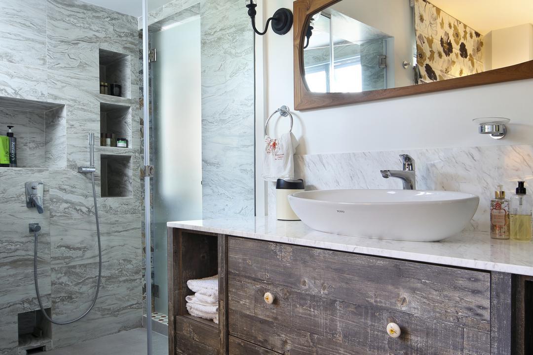 Marine Drive (Block 75), The Scientist, Eclectic, Bathroom, HDB, White Bathroom, Bathroom Vanity, Bathroom Cabinet, Vessel Sink, Mirror, Shower Screen, Patterned Tiles, Geometric Tiles, Resort Style, Sink
