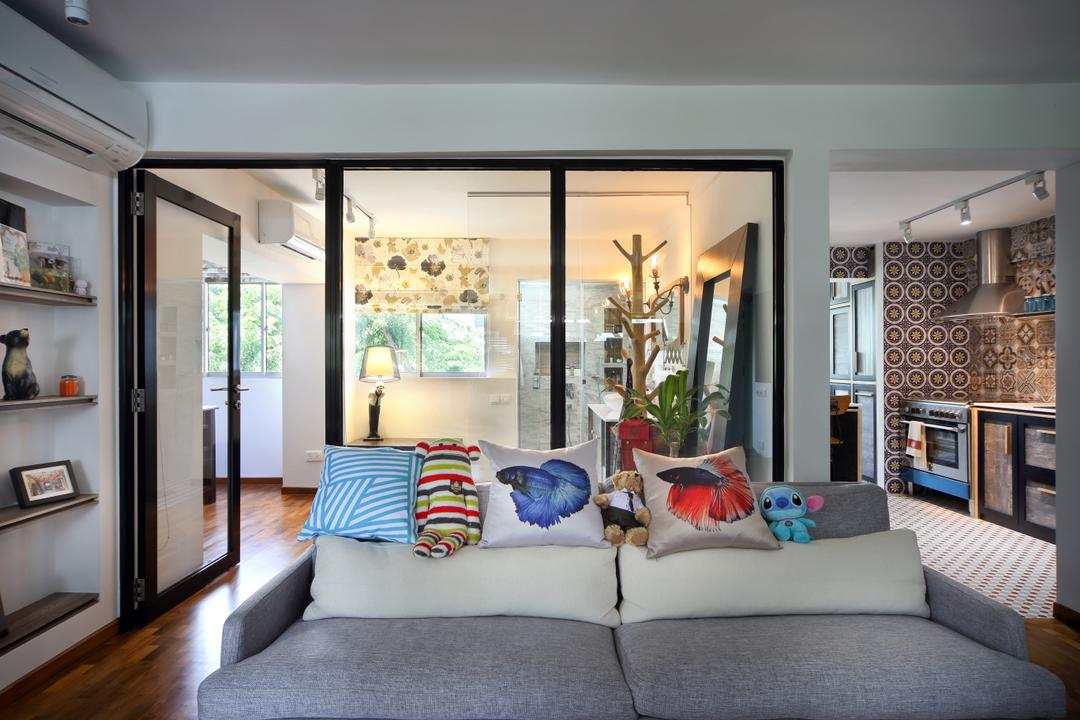 Marine Drive (Block 75), The Scientist, Eclectic, Living Room, HDB, Glass Door, Black Trims, Open Concept, Cushions, , Patterns, Couch, Furniture, Appliance, Electrical Device, Oven, Indoors, Room, Building, Housing