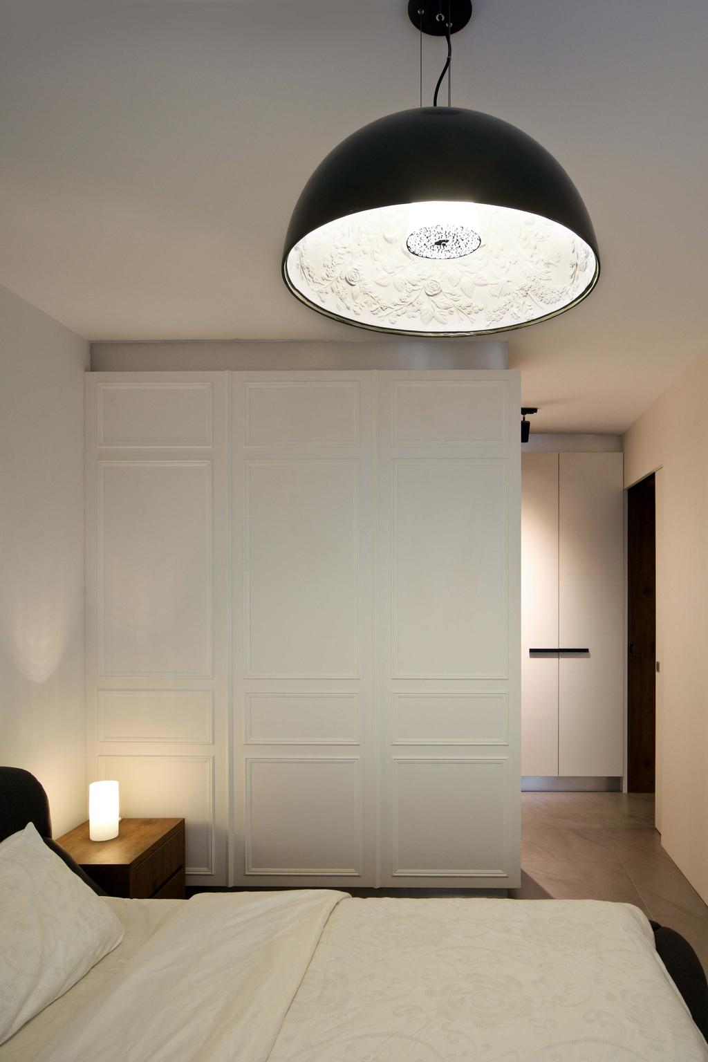 Contemporary, HDB, Bedroom, Hougang (Block 571), Interior Designer, The Scientist, Big Pendant Lamp, Simple, Cosy, White, All White, Door Design, Wardrobe, Cabinet, Cupboard