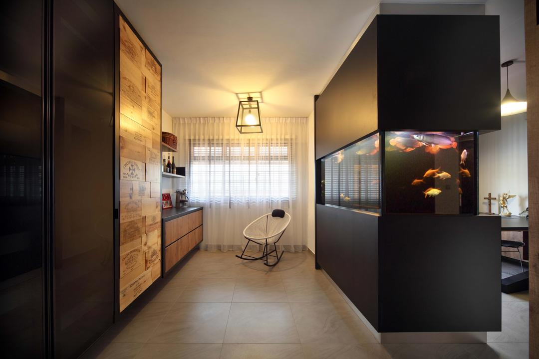 Hougang (Block 571), The Scientist, Contemporary, Study, HDB, Rocking Chair, Acapulco Chair, Curtains, Caged Lamp, Day Curtain, Sheer Curtain, Thin Curtain, Floating Storage, Wall Storage, Electronics, Lcd Screen, Monitor, Screen, Indoors, Interior Design, Flooring