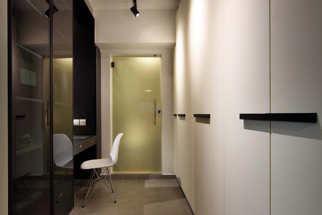 Hougang (Block 571), The Scientist, Contemporary, Bedroom, HDB, Big Tiles, Square Tiles, Narrow Layout, Track Lights, Monochrome, Neutral Colours, Black And White, Simple, Cosy, Dim, Chair, Furniture, Bathroom, Indoors, Interior Design, Room