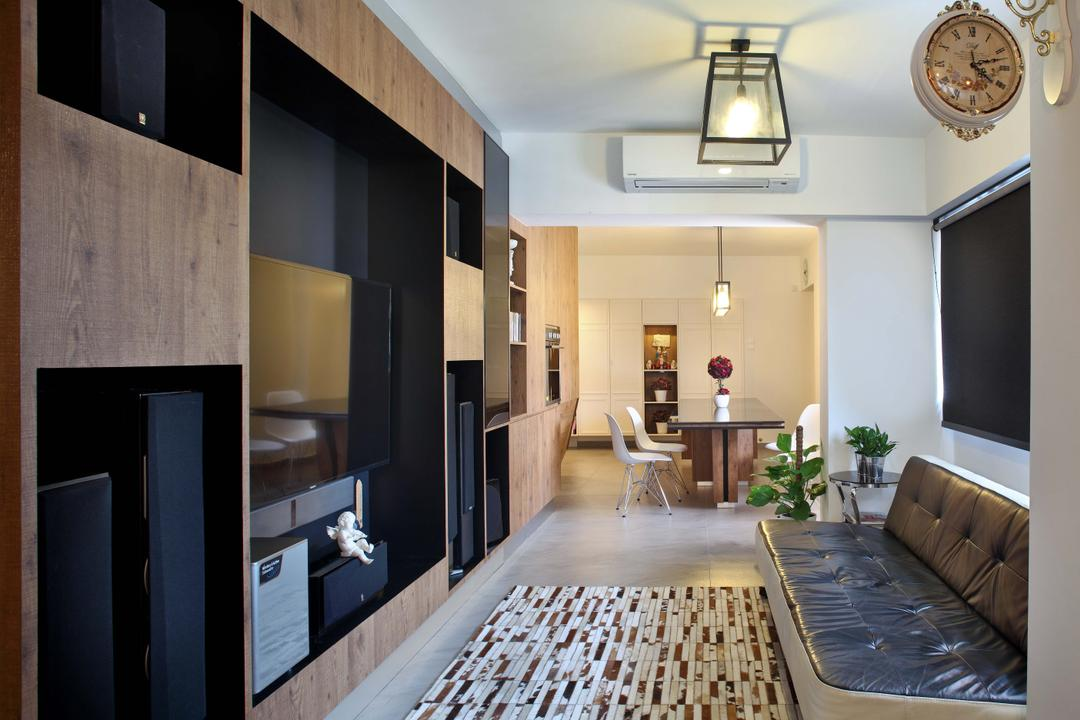 Hougang (Block 571), The Scientist, Contemporary, Living Room, HDB, Wall Clock, Rug, Sofa, Leather Sofa, Full Length Tv Console, Caged Lamp, Linear Layout, Narrow Layout, Indoors, Interior Design, Couch, Furniture
